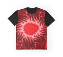 Red Energy Fractal Pattern Graphic T-Shirt