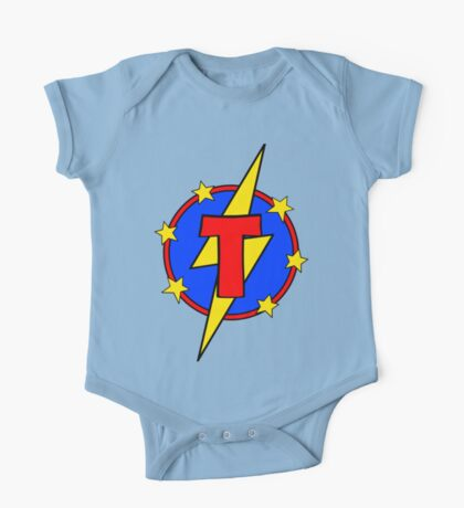 My Cute Little Super Hero - Letter T One Piece - Short Sleeve
