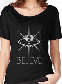 Space Alien UFO Believe  Women's Relaxed Fit T-Shirt