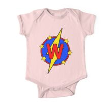 My Cute Little Super Hero - Letter W One Piece - Short Sleeve