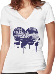 Gone Fishing Women's Fitted V-Neck T-Shirt