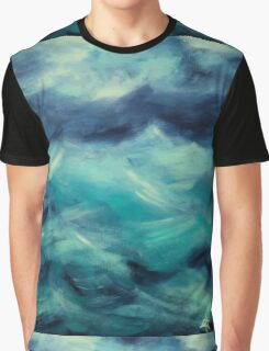 Stormy Sea Ocean Blue Turquoise Aqua Waves Powerful Strong Graphic T-Shirt