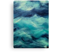 Stormy Sea Ocean Blue Turquoise Aqua Waves Powerful Strong Canvas Print