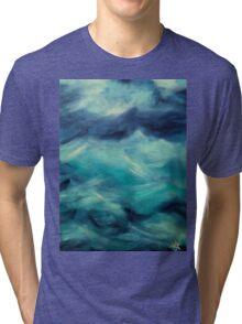 Stormy Sea Ocean Blue Turquoise Aqua Waves Powerful Strong Tri-blend T-Shirt