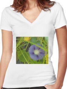 Light Blue Morning Glory Women's Fitted V-Neck T-Shirt