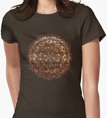 Burnt Wood Chocolate Doodle Womens Fitted T-Shirt