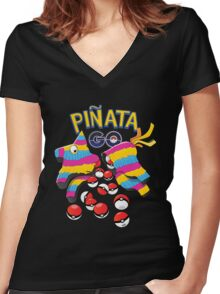 Pinata GO: Pokemon Mexican Style Women's Fitted V-Neck T-Shirt