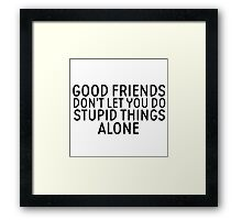 Friendship Funny Quote Cool Stupid Funny Framed Print