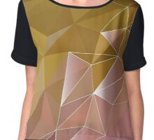Abstract polygon pattern ,yellow, brown Low Poly design Chiffon Top