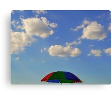 sunscreen, blue sky, clouds Canvas Print