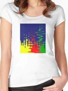 Primary Color Reflections - Blue - Yellow - Red - Green V Women's Fitted Scoop T-Shirt