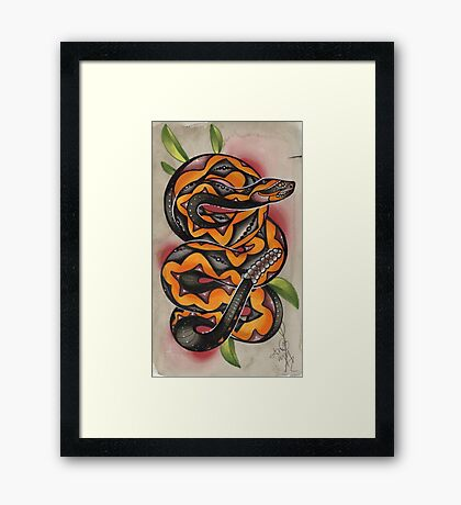 old timey snake tattoo Framed Print
