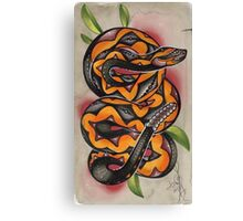 old timey snake tattoo Canvas Print