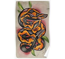 old timey snake tattoo Poster
