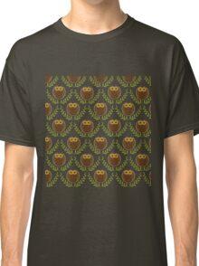 Cute Brown owls Green Wreath Seamless Pattern Classic T-Shirt