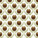 Cute Brown owls Green Wreath Seamless Pattern by artonwear