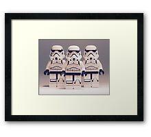 Grey Lego Storm Trooper line up Framed Print