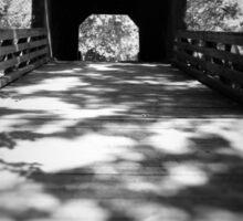 Black and White Covered Bridge Sticker