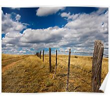 Fence Line Sunny Day Poster