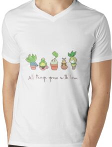 ALL THINGS GROW WITH LOVE Mens V-Neck T-Shirt