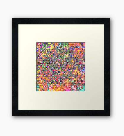 Neon Abstract Pattern Framed Print