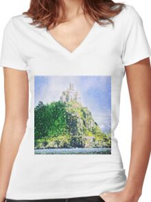 ST MICHAELS MOUNT CORNWALL ENGLAND Women's Fitted V-Neck T-Shirt