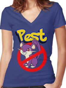 Rattata pest Women's Fitted V-Neck T-Shirt