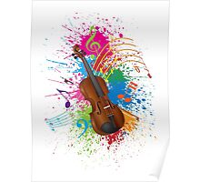 Violin with Bow Paint Splatter Illustration Poster