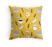 Yellow breakfast Throw Pillow