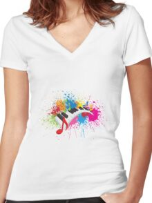 Piano Wavy Keyboard Paint Splatter Abstract Illustration Women's Fitted V-Neck T-Shirt