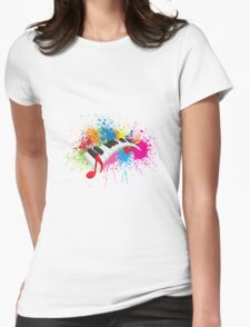 Piano Wavy Keyboard Paint Splatter Abstract Illustration Womens Fitted T-Shirt