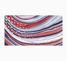 Modern American Flag - Red White And Blue - Sharon Cummings One Piece - Short Sleeve