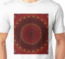Mandala in red color with green accents Unisex T-Shirt