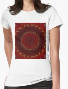 Mandala in red color with green accents Womens Fitted T-Shirt