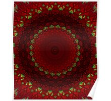 Mandala in red color with green accents Poster