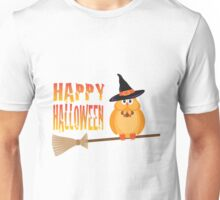 Halloween Owl on Broomstick Illustration Unisex T-Shirt