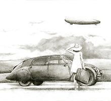 airship and a woman by art-koncept