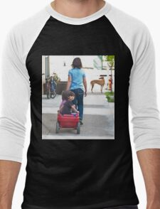 Little red wagon for Mom and the kids Men's Baseball ¾ T-Shirt