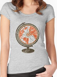 Global Cyclist (orange) Women's Fitted Scoop T-Shirt