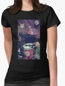 cat surprise Womens Fitted T-Shirt