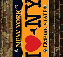 I Love NY Car Plate Prints / iPhone Case/ T-Shirt / iPad Case / Samsung Galaxy Cases  / Pillow / Tote Bag / Duvet  by CroDesign