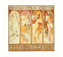 Alphonse Mucha,seasons,art nouveau,vintage,rustic,elegant Art Print