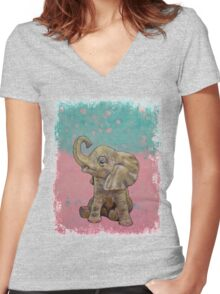 Baby Elephant Women's Fitted V-Neck T-Shirt