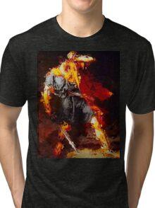 VividScene: Hero Avoiding Medusas Gaze in Red Tri-blend T-Shirt