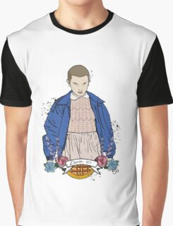 Stranger Things Eleven floral  Graphic T-Shirt
