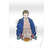 Stranger Things Eleven floral  Poster