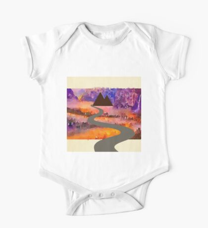 Abstract,water color,hand painted,landscape,mixed media One Piece - Short Sleeve