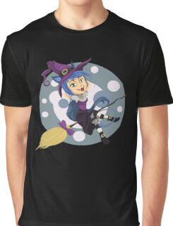 Happy Cat Witch Graphic T-Shirt