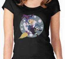 Happy Cat Witch Women's Fitted Scoop T-Shirt
