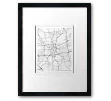 Dortmund Map, Germany - Black and White Framed Print